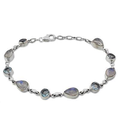 Blue Topaz and Rainbow Moonstone Gemstone Station Bracelet