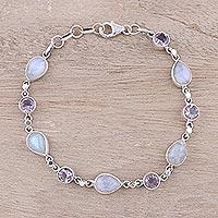 Amethyst and rainbow moonstone link bracelet,