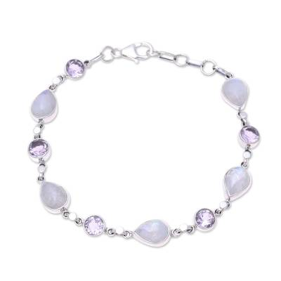 Handmade Amethyst Rainbow Moonstone Link Bracelet from India