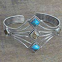 Citrine cuff bracelet, 'Sunny Allure' - Composite Turquoise and Citrine Cuff Bracelet from India