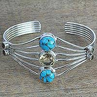 Citrine cuff bracelet, 'Heavenly Allure' - Handmade Composite Turquoise Citrine Cuff Bracelet India