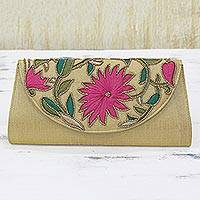 Embroidered clutch handbag, 'Sophisticated Floral' - Rayon Embroidered Polyester Clutch in Wheat from India