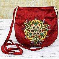 Silk sling handbag, 'Poppy Beauty' - 100% Silk Rayon Embroidered Sling Handbag from India