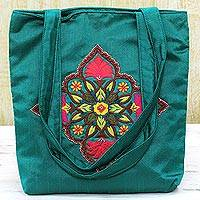Embroidered shoulder bag, 'Teal Elegance' - Polyester Floral Beaded Shoulder Handbag in Teal from India