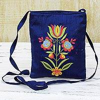 Polyester sling handbag, 'Lapis Beauty' - Rayon Embroidered Polyester Sling Handbag in Lapis India