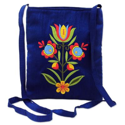 Polyester sling handbag, 'Lapis Beauty' - Rayon Embroidered Polyester Sling Handbag in Lapis India