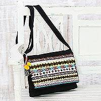 Cotton sling handbag, 'Bohemian Glamour' - Rayon Embroidered Glass Beaded Cotton Sling Handbag India