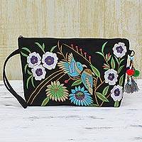 Cotton wristlet handbag, 'Garden View'