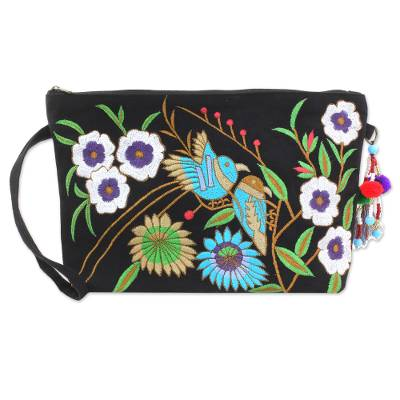 Cotton wristlet handbag, 'Garden View' - Rayon Embroidered Cotton Wristlet Floral Birds from India