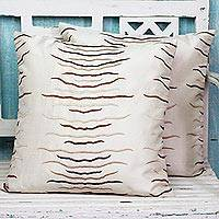 Embroidered cushion covers, 'Wavy Sepia' (pair) - Rayon Embroidered Polyester Cushion Covers (Pair) from India