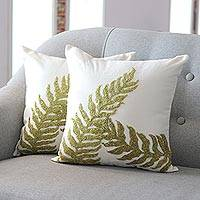 Embroidered pillow covers, 'Garden Comfort' (pair)