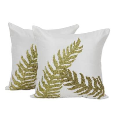 Embroidered pillow covers, 'Garden Comfort' (pair) - 100% Polyester Indian Leaf Embroidery Pillow Covers (Pair)