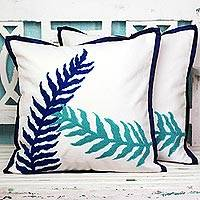 Cotton cushion covers, 'Alluring Leaves' (pair) - 100% Cotton Blue and White Cushion Covers from India (Pair)