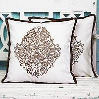 Cotton cushion covers, 'Copper Beauty' (pair) - Acrylic Embroidered Cotton Cushion Covers (Pair) from India