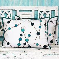 Cotton cushion covers, 'Turquoise Bubbles' (pair) - Blue and White Embroidered Cotton Cushion Covers (Pair)