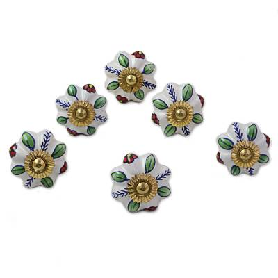 Ceramic cabinet knobs, 'Garden Glamour' (set of 6) - Ceramic Cabinet Knobs Floral Multicolored (Set of 6) India