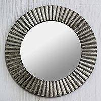 Aluminum wall mirror, 'Silvery Rays' - Aluminum Distressed Circular Wall Mirror from India