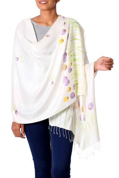 Silk blend shawl, 'Tulip Blossoms' - Hand Painted Viscose Silk Blend Shawl Tulip Blossom India