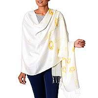 Silk blend shawl, 'Golden Daisy Blossoms' - Hand Painted Silk Blend Shawl Daisy Blossom from India