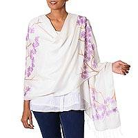 Silk blend shawl, 'Purple Plum Blossoms' - Hand Painted Silk Blend Shawl Plum Blossom from India