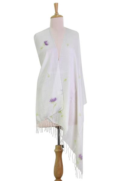 Silk blend shawl, 'The Valley of Flowers' - Hand Painted Silk Blend Shawl Purple Floral Blossom India