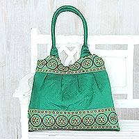 Embroidered shoulder bag, 'Emerald Glamour' - Emerald Green Floral Sequins Embroidered Shoulder Bag