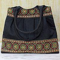 Embroidered shoulder bag, 'Midnight Glamour' - Handmade Embroidered Shoulder Bag from India