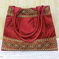Embroidered shoulder bag, 'Crimson Glamour' - Handmade Red Embroidered Shoulder Bag from India
