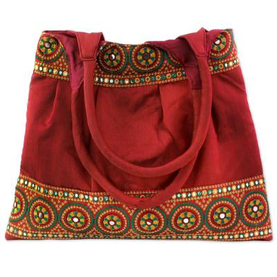 Novica Embroidered shoulder bag, Crimson Glamour