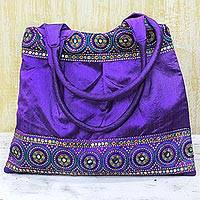 Embellished shoulder bag, 'Purple Glamour' - Embroidered Polyester Shoulder Bag from India