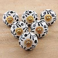 Ceramic cabinet knobs, 'Magical Blooms' (set of 6) - Ceramic Cabinet Knobs Floral White Black (Set of 6) India