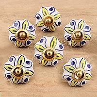 Ceramic cabinet knobs, 'Bright Sunshine' (set of 6) - Ceramic Cabinet Knobs Floral Yellow White (Set of 6) India