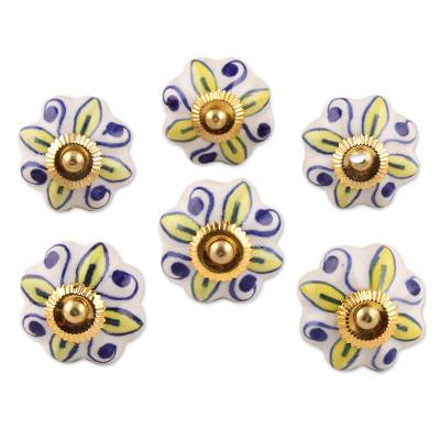 Ceramic cabinet knobs, 'Bright Sunshine' (set of 6) - Ceramic Cabinet Knobs Floral Yellow White (Set of 6) India
