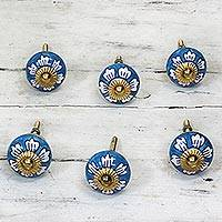 Ceramic cabinet knobs, 'Blue Flowers' (set of 6) - Ceramic Cabinet Knobs Floral Blue White (Set of 6) India