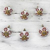 Ceramic cabinet knobs, 'Leafy Red' (set of 6) - Ceramic Cabinet Knobs Floral White Red (Set of 6) from India