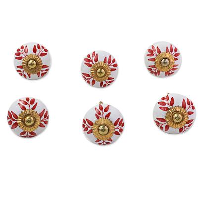 Ceramic cabinet knobs, 'Leafy Red' (set of 6) - Ceramic Cabinet Knobs Floral White Red (Set of 6) from India