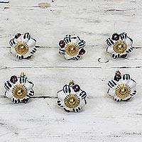Ceramic cabinet knobs, 'Floral Sunshine' (set of 6) - Ceramic Cabinet Knobs Floral White (Set of 6) from India