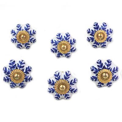 Ceramic cabinet knobs, 'Blue Sunshine' (set of 6) - Ceramic Cabinet Knobs Floral White Blue (Set of 6) India