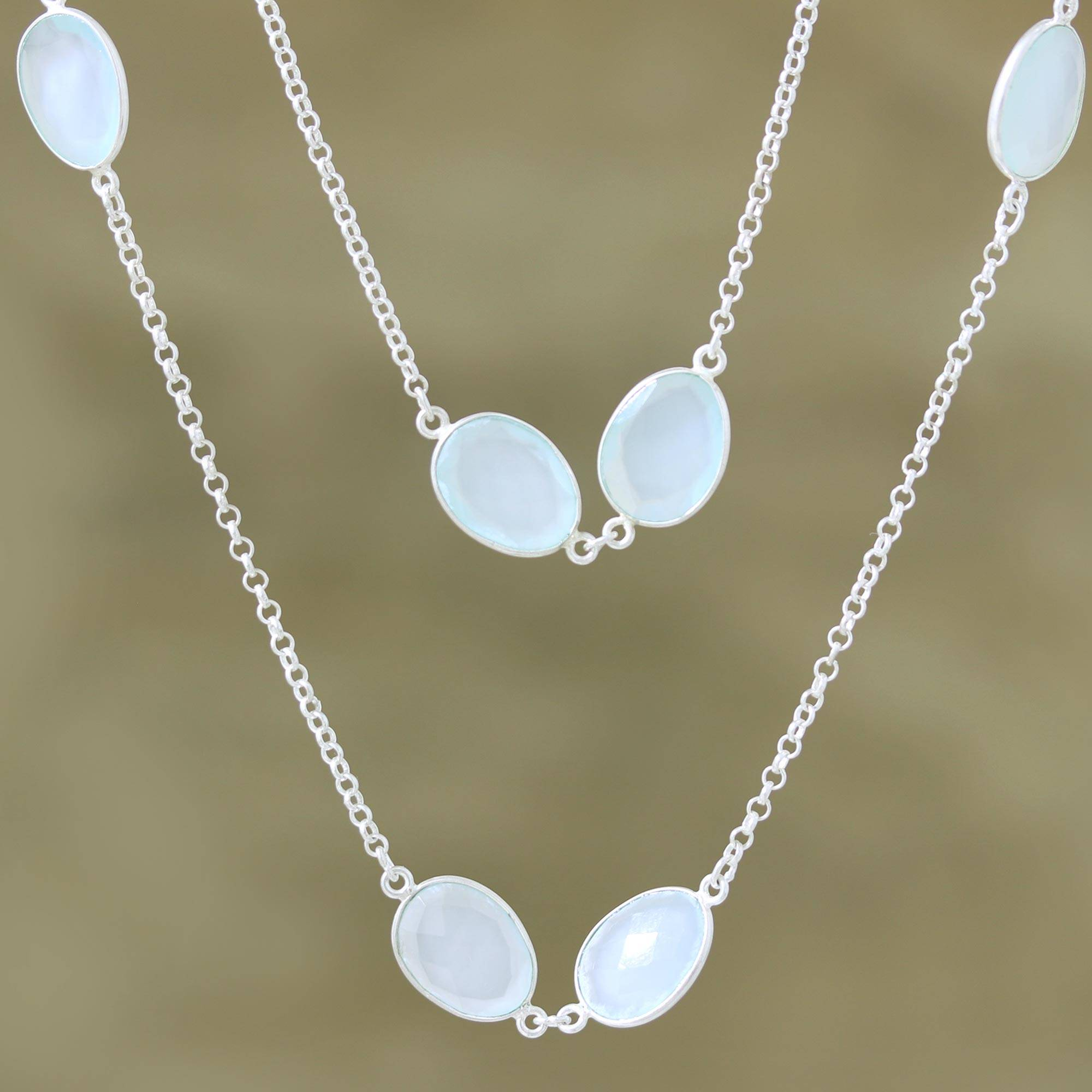 Aqua Princess Aqua Chalcedony Sterling Silver Station Necklace The Perfect Necklace