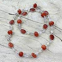 Carnelian and rutile quartz long necklace, 'Blazing Romance' - Long Sterling Silver Carnelian and Golden Rutile Necklace