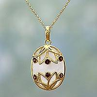 Gold plated garnet and rainbow moonstone pendant necklace, 'Blossom Egg' - Gold Plated Pendant Necklace Garnet Rainbow Moonstone India