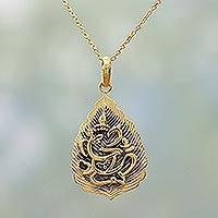 Gold plated sterling silver pendant necklace, 'Ganesha Leaf' - Gold Plated Sterling Silver Pendant Necklace Ganesha India