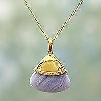 Gold plated agate pendant necklace, 'Beautiful Layers' - Indian Gold Plated Sterling Silver Blue Lace Agate Necklace