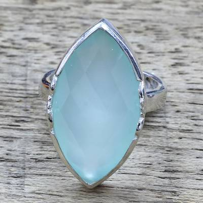 american indian silver bead necklace - 10.5 Carat Aqua Chalcedony and Sterling Silver Cocktail Ring