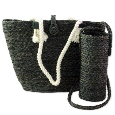 Black Tote and Bottle Holder Set Hand Woven Natural Fibers