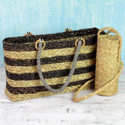 Natural fibers tote bag and bottle holder set, 'Life's a Picnic' - Brown Tote and Bottle Holder Set Hand Woven Natural Fibers