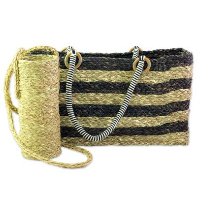 Brown Tote and Bottle Holder Set Hand Woven Natural Fibers