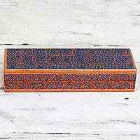 Decorative wood box, 'Starry Willow' - Blue and Orange Decorative Hand Painted Indian Willow Box