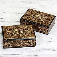 Wood decorative mini boxes, 'Avian Whispers in Gold' (pair) - Hand Painted Wood Mini Decorative Boxes (Pair) from India