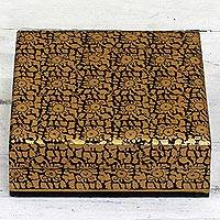 Wood decorative box, 'Leafy Gold' - Hand Painted Decorative Box in Gold Tone from India